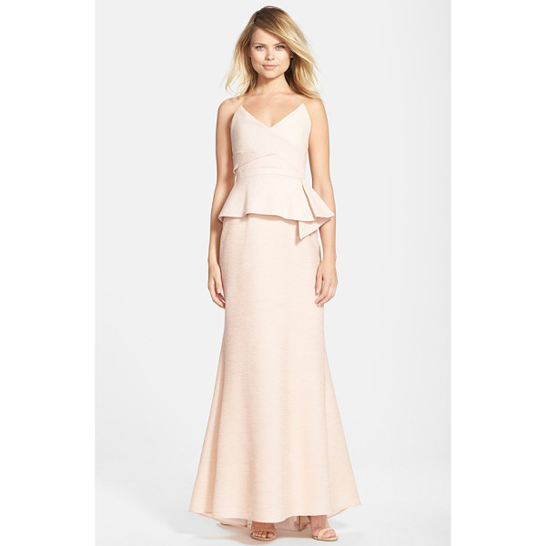 BCBGMAXAZRIA gracie peplum crepe mermaid gown - This ultra-modern and wildly flattering evening gown is...