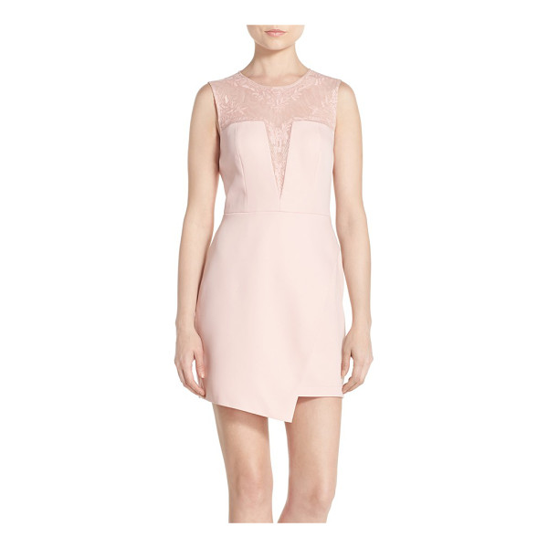 BCBGMAXAZRIA kinsley embroidered mesh & satin a-line dress - Floral embroidery traces the sheer mesh yoke and plunging...