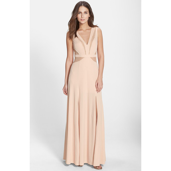 BCBGMAXAZRIA lace inset jersey gown - Tonal-lace insets contour the sleeveless, V-neck bodice of...