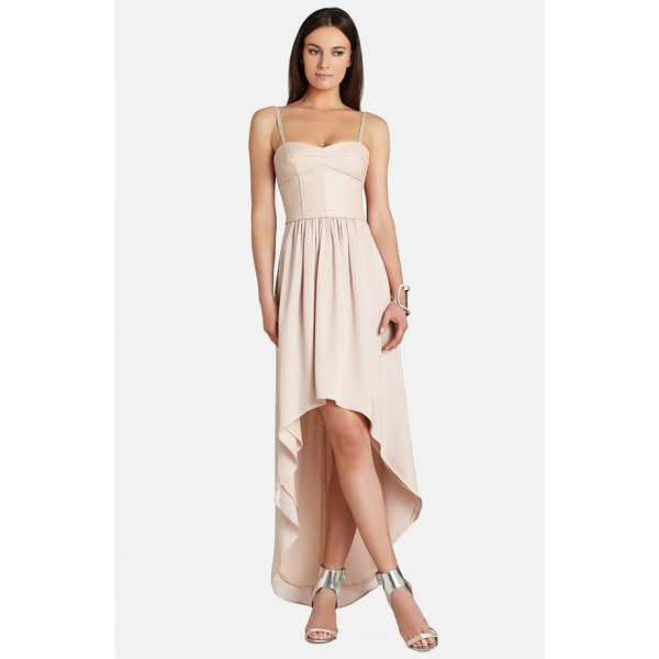 BCBGMAXAZRIA leandra faux leather & crepe de chine high/low dress - This mixed-media dress cast in a demure blush tone pairs a...