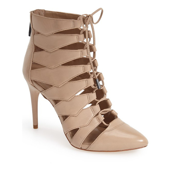 BCBGMAXAZRIA ma-bren lace-up bootie - A slender lace snakes up the front of a stunning almond-toe...