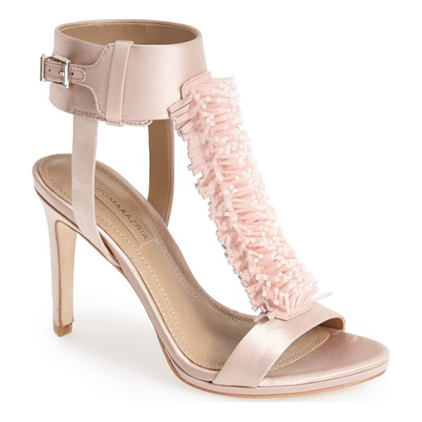 BCBGMAXAZRIA ma-limbo fringe t-strap satin sandal - A playful, dimensional take on the fringe trend highlights...