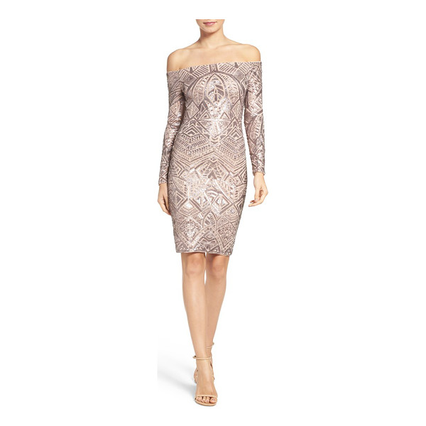 BCBGMAXAZRIA off the shoulder sequin dress - Step into the limelight of the holiday party season in this...