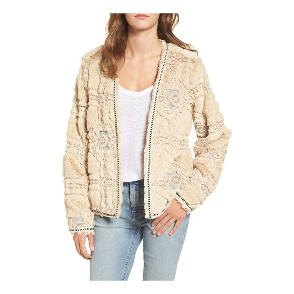 BCNI bnci embossed faux fur cardigan - Flowery embossing and neat chevron trim style a cozy faux...