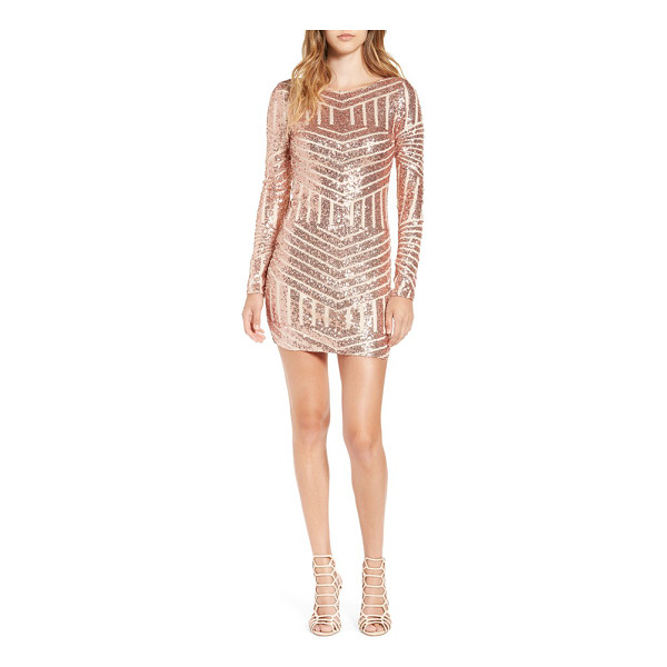 BEE DARLIN long sleeve sequin body-con dress - Chevron stripes rendered in rosy sequins light up a...