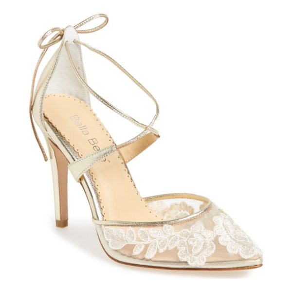 BELLA BELLE anita illusion lace cross strap pump - Floral Alencon lace blooms on a bed of ivory illusion mesh...