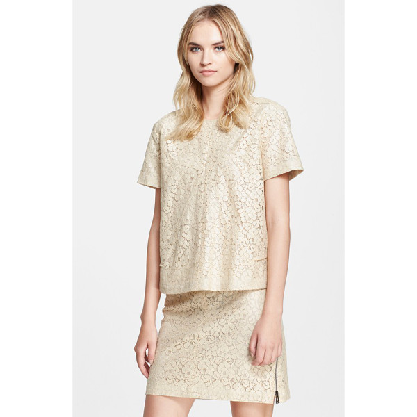 BELSTAFF olive coated lace short sleeve top - A subtly lustrous coating reinforces a fine lace top, cut...
