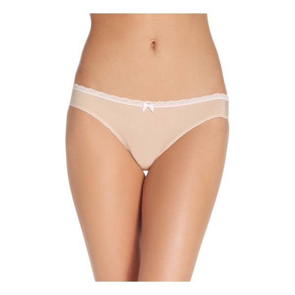 BETSEY JOHNSON perfectly sexy thong - A smooth-fitting thong features lace trim and a tiny ribbon...