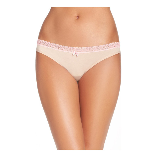 BETSEY JOHNSON print thong - A smooth-fitting thong features flirty lace trim and a tiny...