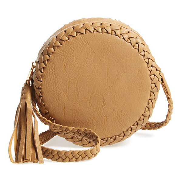 BIG BUDDHA Faux leather round crossbody bag - Woven trim and a bold tassel extend the boho-chic appeal of...