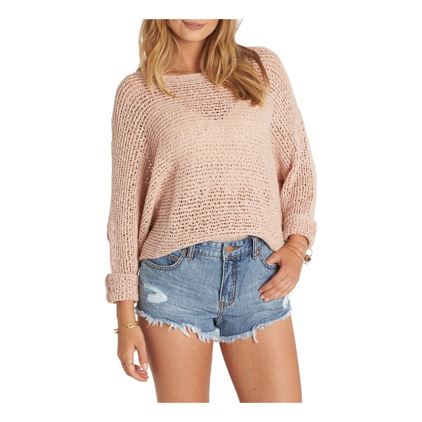 BILLABONG dance with me knit sweater - A fishnet-like knit sweater offers a playful peek at the...