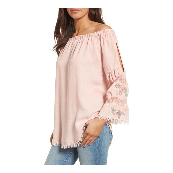 BILLY T off the shoulder denim top - Bell sleeves detailed with lace, embroidery and a peekaboo...