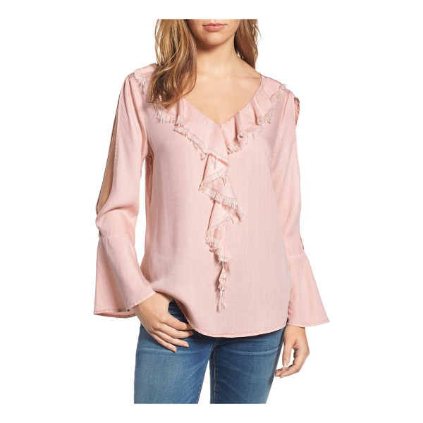 BILLY T ruffle front top - Fluttery, softly fringed ruffles run down the front of a...
