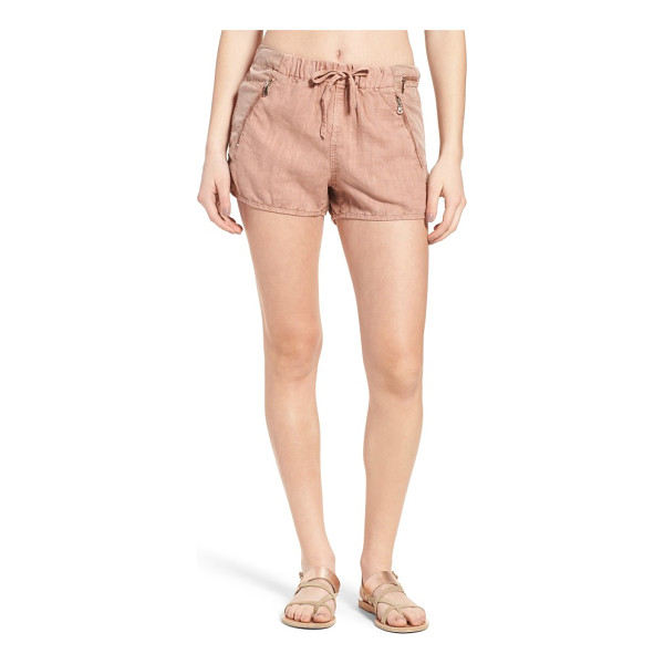 BLANK NYC drawstring linen blend shorts - Relaxed drawstring shorts with a subtle dolphin cut are...