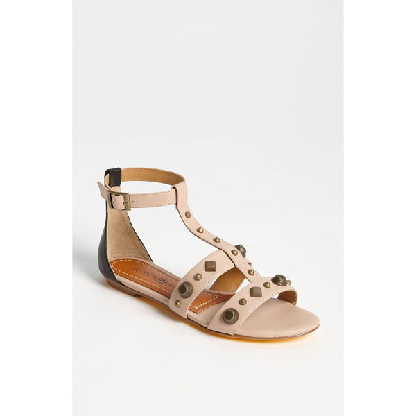 BLONDE AMBITION veracruz sandal - Mixed, brushed studs punctuate a foot-baring T-strap sandal...