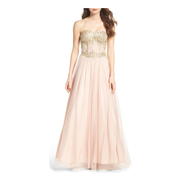 BLONDIE NITES strapless bustier gown - Be a modern-day fairy-tale princess.