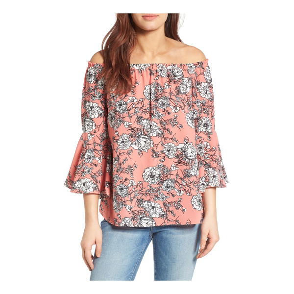 BOBEAU bell sleeve off the shoulder blouse - No matter which print you choose, your shoulders and hands...