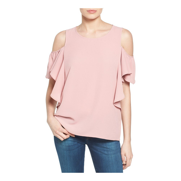 BOBEAU cold shoulder ruffle sleeve top - Adding a dash of feminine frill to the shoulder-baring...