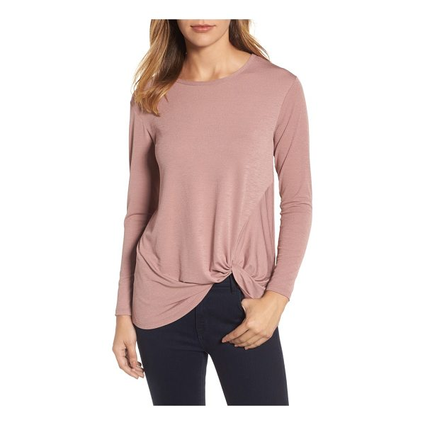 BOBEAU dressy front knot long sleeve top - This versatile, stretch-knit top features a fashionably...