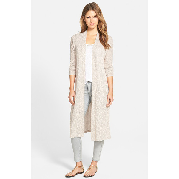 BOBEAU long side slit open front cardigan - A long, duster-length silhouette defines a laid-back...