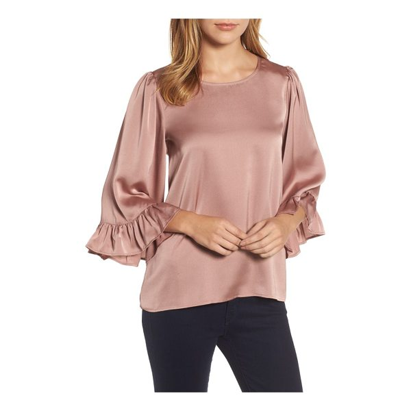 BOBEAU ruffle sleeve satin top - Lustrous satin adds light-reflecting dimension to this...