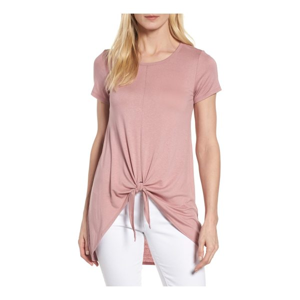 BOBEAU tie front high/low tee - A soft, slouchy tie hem adds girlish flair to an...