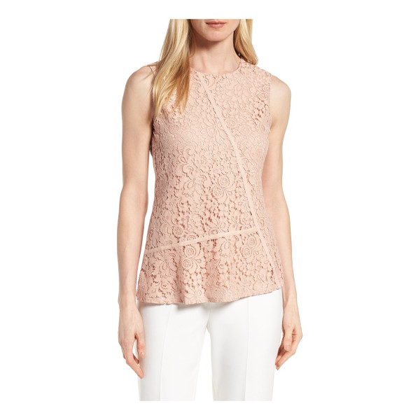 BOSS etopaly lace top - Utilitarian twill tape cuts across the lacy front of a chic...