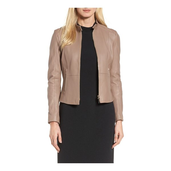 BOSS sammonaie leather jacket - Cut to fit like a glove, this luxe lambskin-leather jacket...