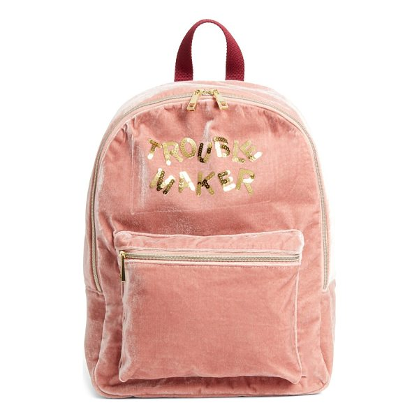 BOW & DRAPE trouble maker backpack - Sequined letters provide a fanciful, street-savvy update to...