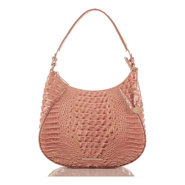 BRAHMIN amira leather shoulder bag - Exotic croc embossing and a contemporary saddle silhouette...