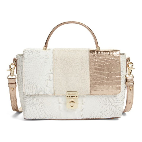 BRAHMIN danielle embossed leather top handle satchel - An exotic blend of embossed textures and sophisticated