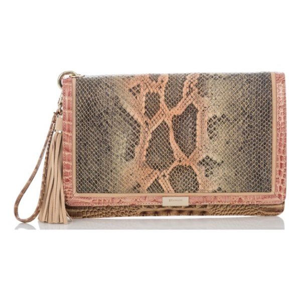 BRAHMIN embossed leather clutch - Gilded detailing highlights the snake-embossed panel on a...