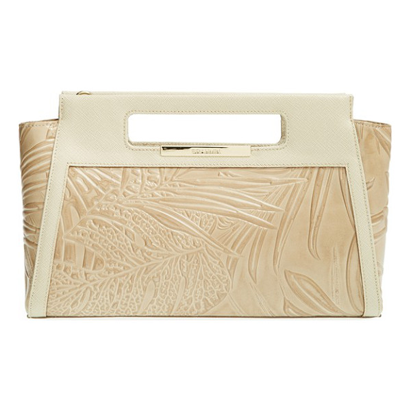 BRAHMIN Lenox embossed leather clutch - Tropically inspired embossing and rich Saffiano trim call...