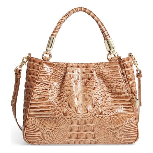 BRAHMIN ruby croc embossed leather satchel - Rich crocodile embossing distinguishes a refined leather...