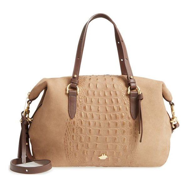 BRAHMIN wilmington delaney embossed nubuck satchel - Croc-embossed nubuck dusted with rose-gold shimmer adds a...