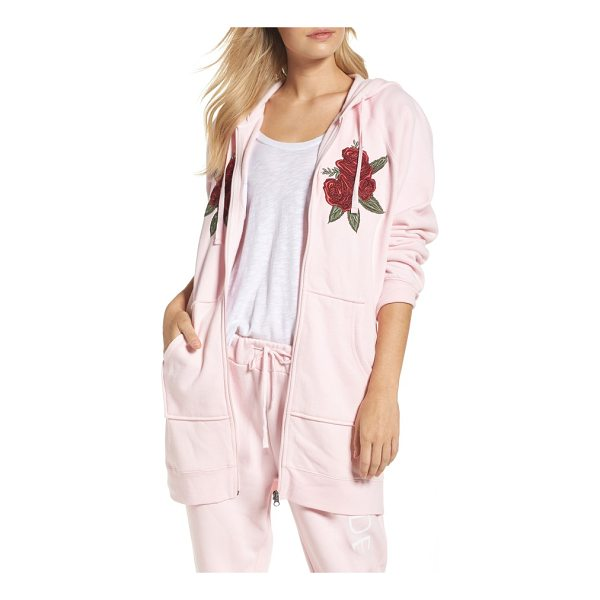 BRUNETTE THE LABEL blonde embroidered zip hoodie - Bold rose embroidery adds an Americana feel to this...