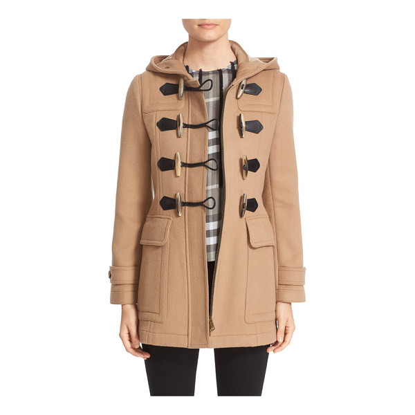BURBERRY 'blackwell' wool duffle coat - Signature check print lines the hood of a hearty wool...