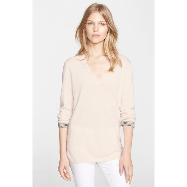 BURBERRY BRIT check cuff cashmere & cotton v-neck sweater - A supersoft blend of cashmere and cotton fashions a slim...