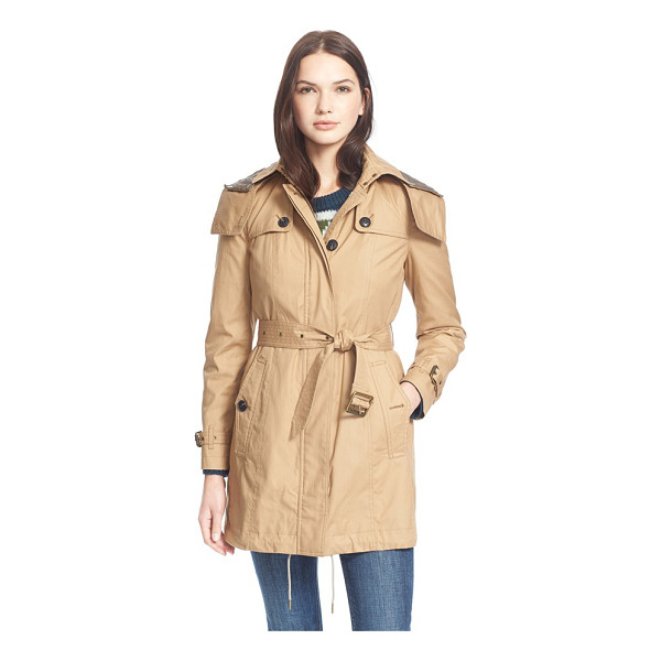 BURBERRY BRIT fenstone single breasted trench coat with detachable hood & liner - A water-resistant trench gets season-spanning style and...