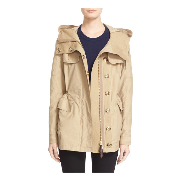 BURBERRY BRIT parkfield hooded drawstring waist jacket - A host of utility details-a generous attached hood, storm...