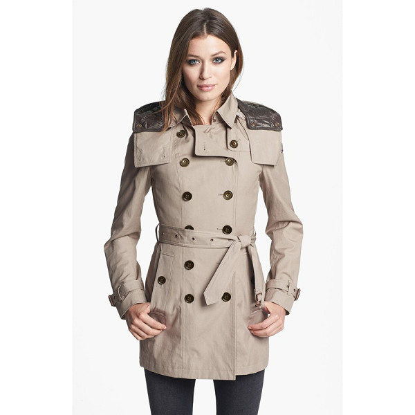BURBERRY BRIT reymoore trench coat with detachable hood & liner - A short version of the iconic double-breasted trench is...
