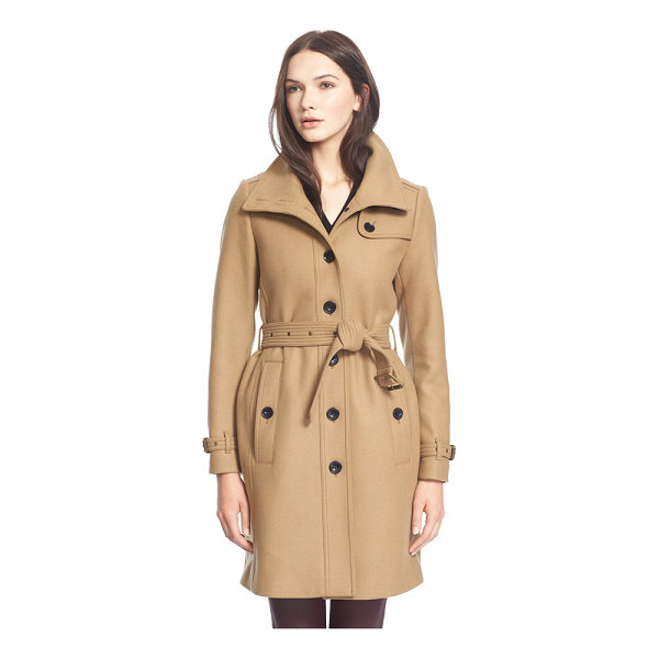 BURBERRY BRIT rushfield wool blend stand collar coat - A poppable collar tops a modern single-breasted trench...