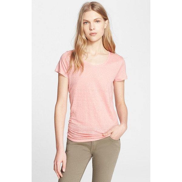 BURBERRY BRIT scoop neck linen tee - A delicately slubbed knit spun from soft and breathable...