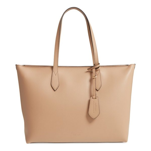 BURBERRY calfskin leather tote - A lightly structured tote with a flat base resists tipping...