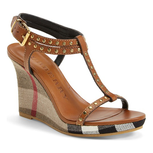 BURBERRY harbeton wedge sandal - An iconic check print blankets the slim platform wedge of...