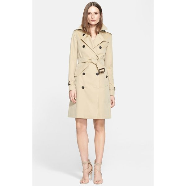 BURBERRY kensington long trench coat - Classic trench styling-including storm flaps, epaulets and...