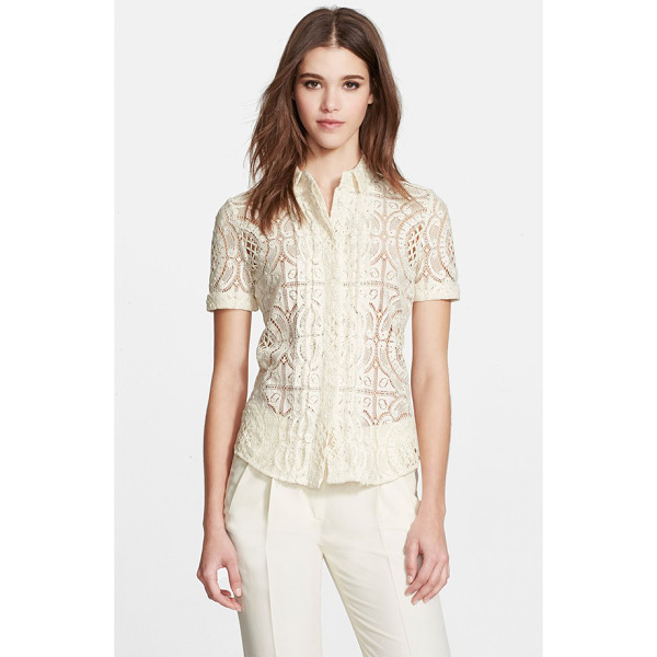 BURBERRY LONDON cotton lace short sleeve shirt - Exquisite lace elevates this classic tailored shirt,...
