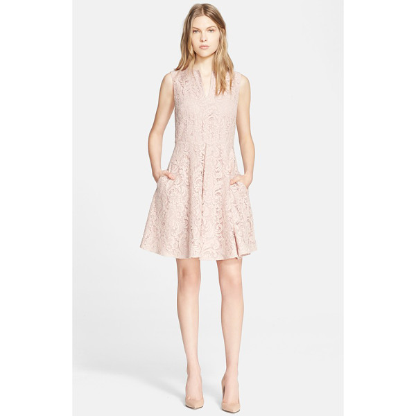 BURBERRY LONDON lace fit & flare dress - Icy pink lace enhances the ultrafeminine appeal of this...