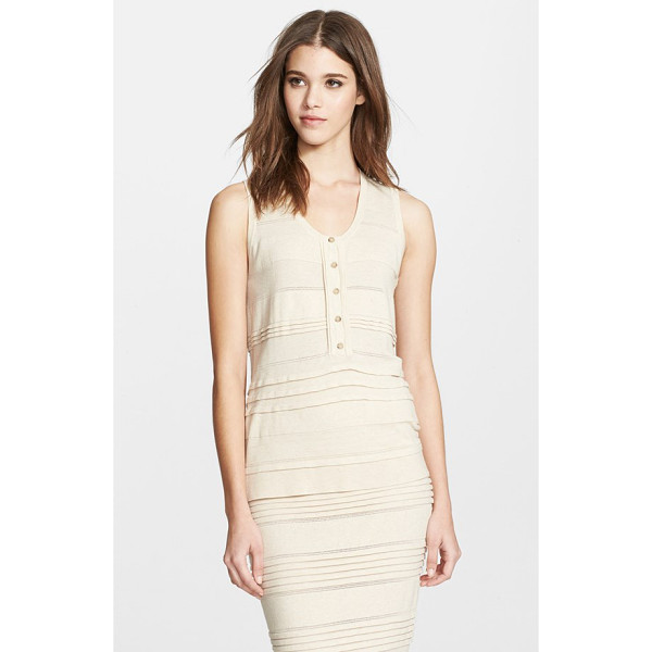 BURBERRY LONDON pleat detail cotton blend sleeveless top - Deft horizontal pleats and intricate pointelle stitches add...