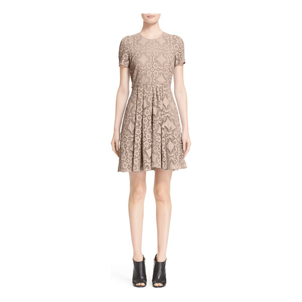 BURBERRY LONDON velma short sleeve lace fit & flare dress - Exquisite lace enhances the ultrafeminine appeal of this...